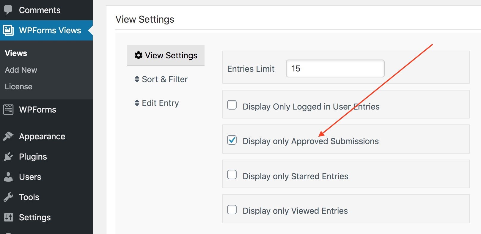Views for WPForms Approved entries Setting