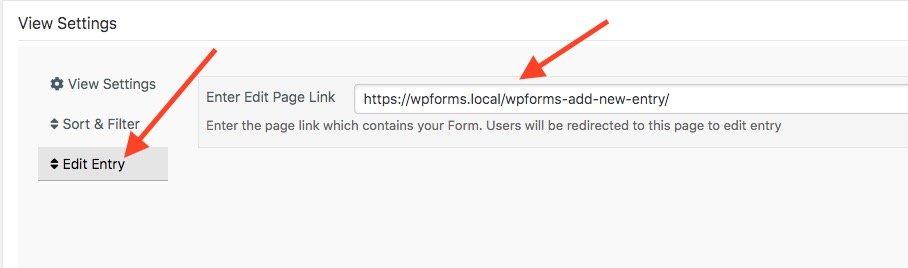 WPForms Views Edit Submission Settings