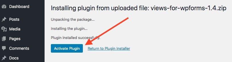activate wpforms views plugin