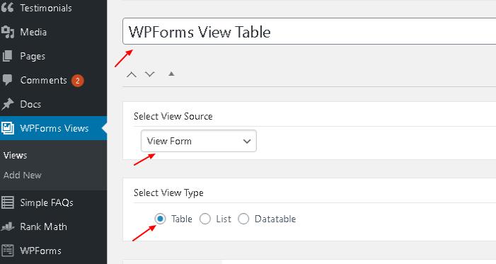Edit WPForms View ‹ WPForms Views — WordPress