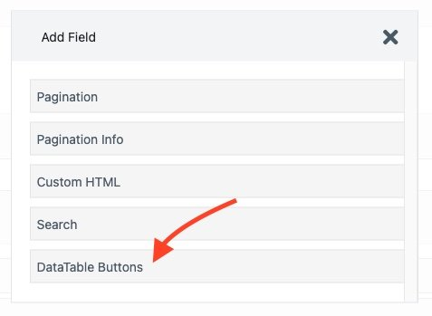 wpfroms views datatable buttons