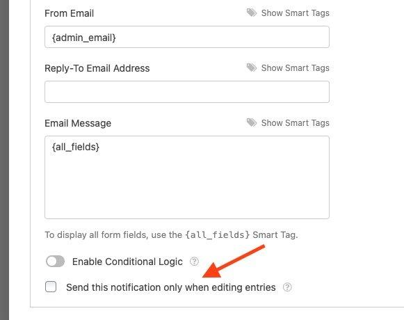 wpforms send email after editin