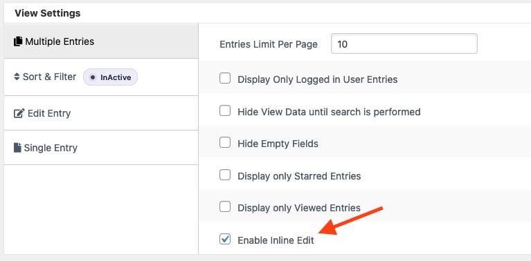 inline edit settings